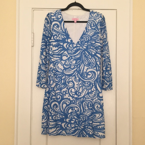 Lilly Pulitzer Blue & White Summer Dress L 12 - 14
